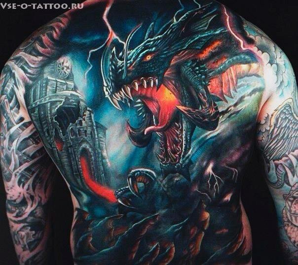 Тату-картина-дракон-на-спине