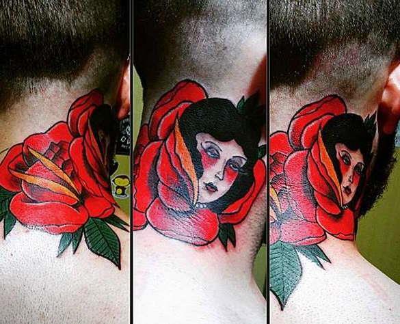 Стиль татуировки на шее олд скул: падшая женщина в розе