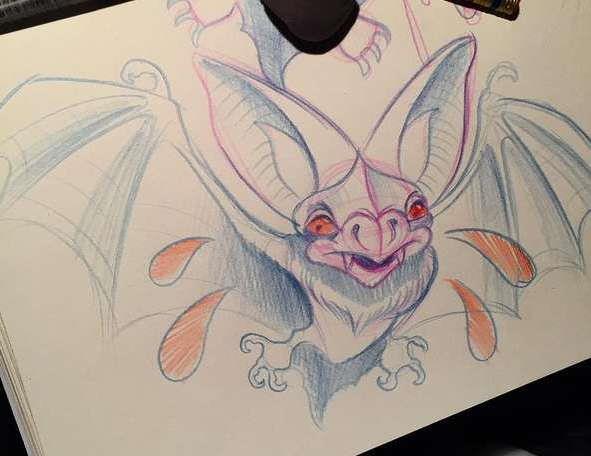 Эскиз татуировки летучая мышь