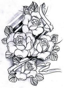 тату розы эскиз (11)