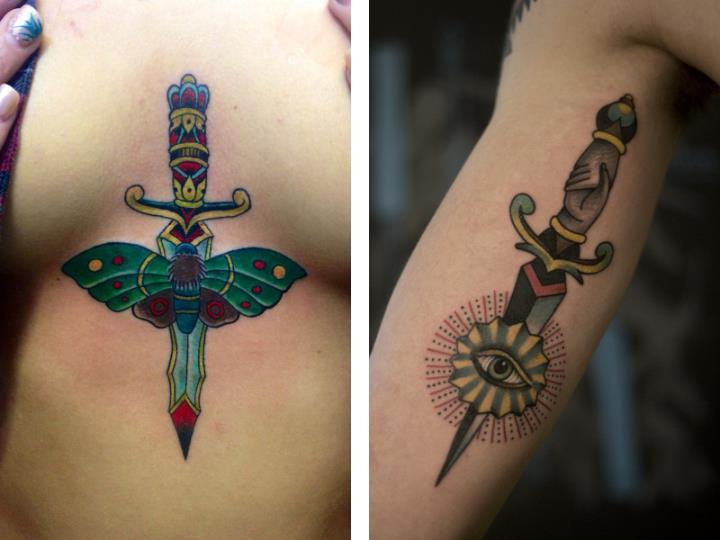 Татуировка кинжал у девушек