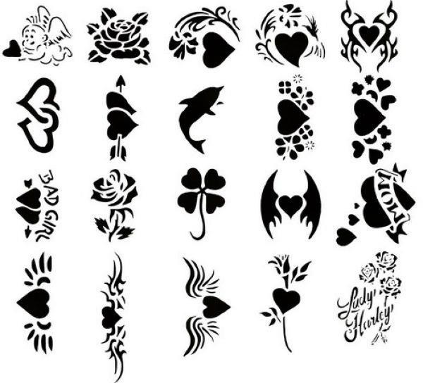 Татуировки для рисования на листочке бумаги