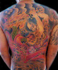 Эскиз мужской японской татуировки на всю спину