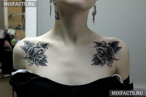 Татуировки на ключице для девушек