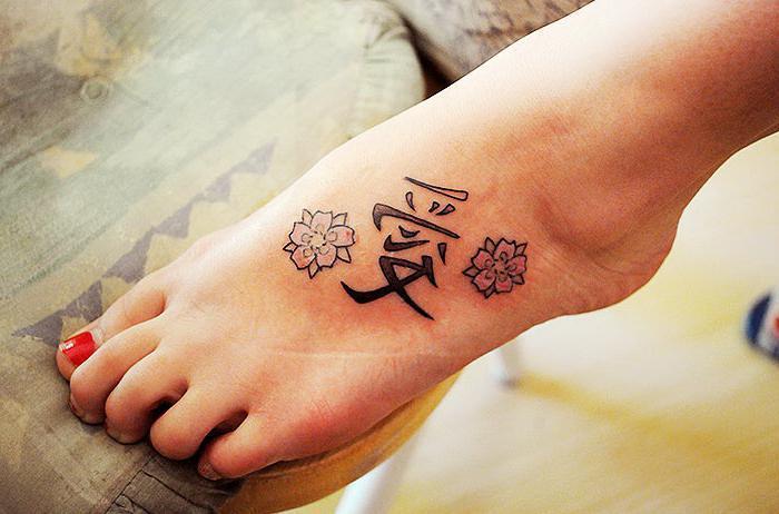 иероглифы на ноге тату