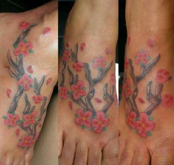 Цветок сакуры на ступне