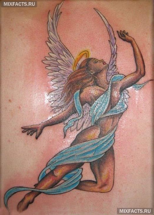цветная татуировка ангела
