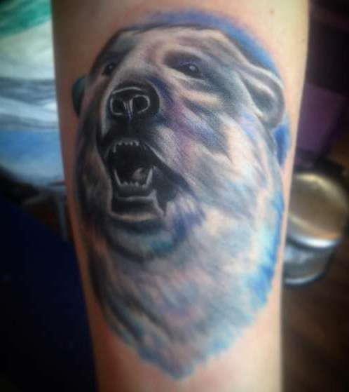 Белый медведь с голубыми тонами