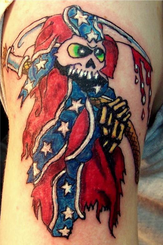 Байкерская татуировка с флагом Конфедерации