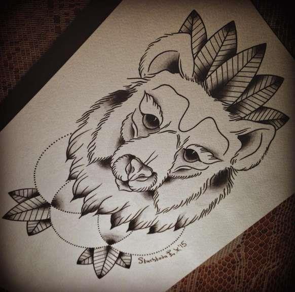 Русский стиль татуировки в виде медведя, нарисованный эскиз