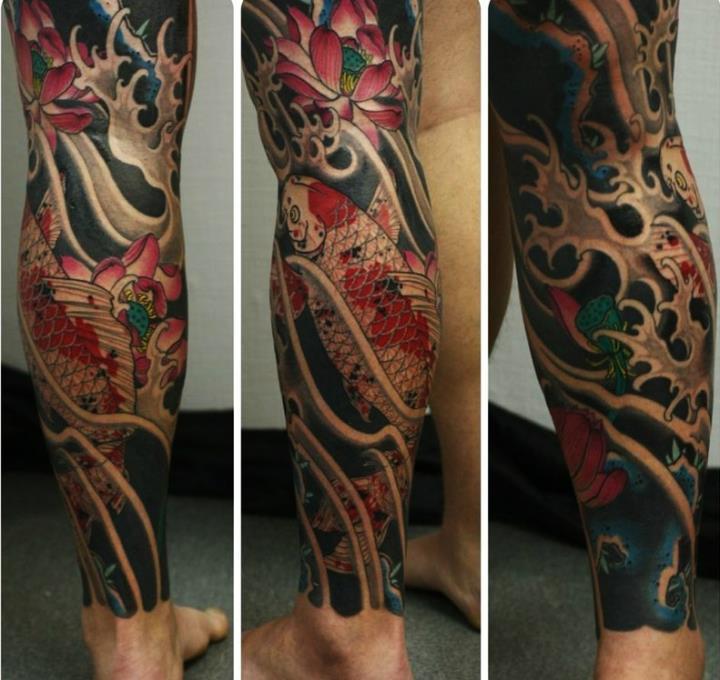 Татуировка мужская на голени фото