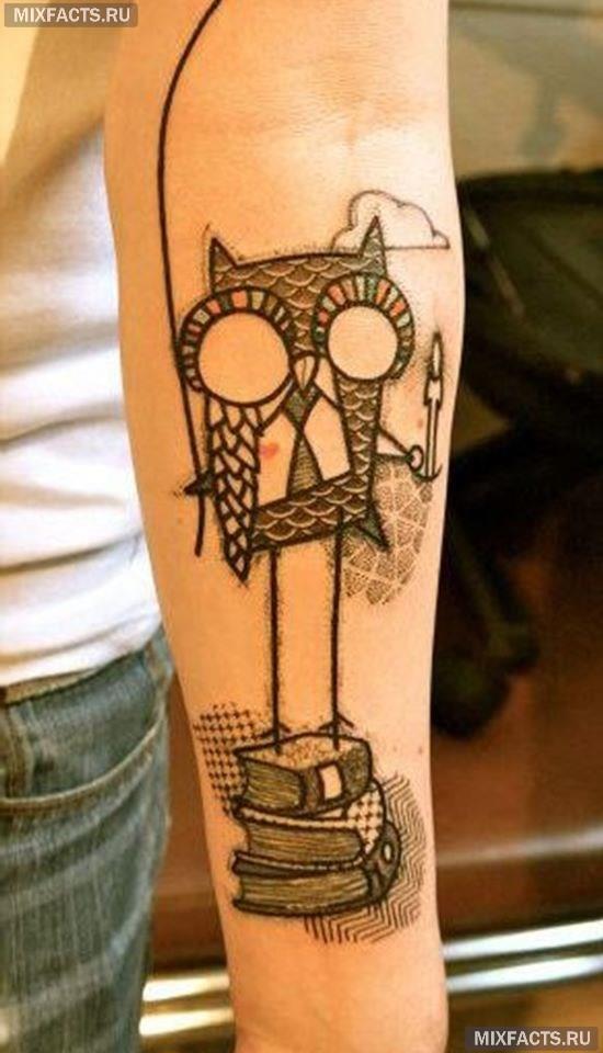 татуировка сова для девушек эскиз