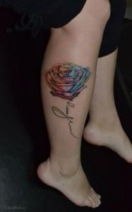тату роза на ноге (4)