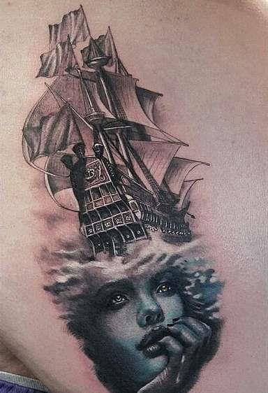 Корабль над головой девушки