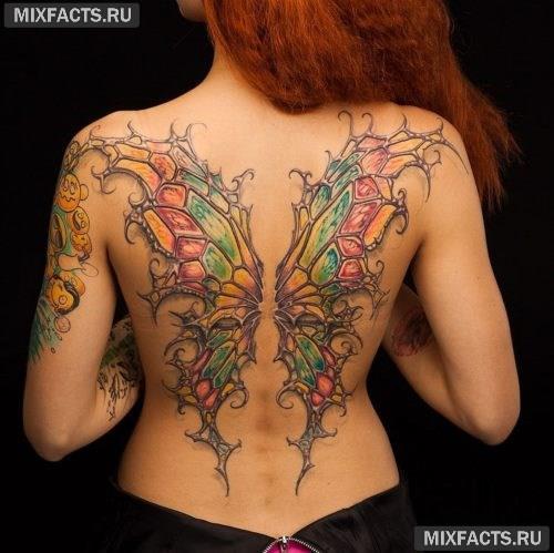 тату крыло бабочки во всю спину