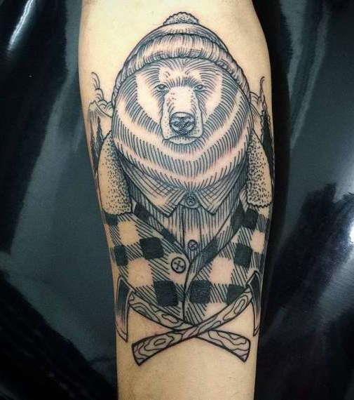 Татуировка медведя в шубе