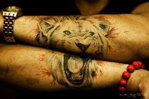 тату лев на руке (1)