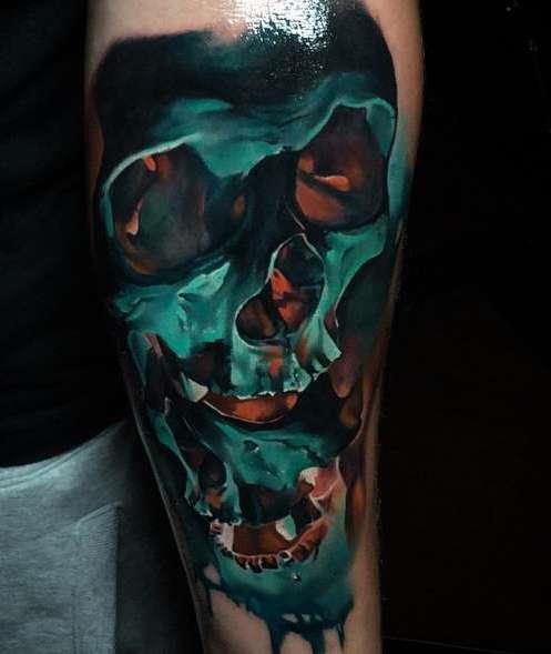 Реалистичная татуировка черепа