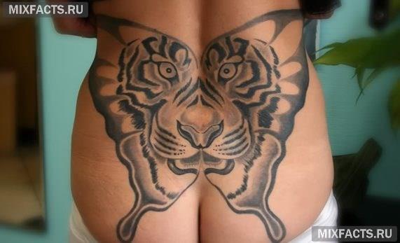 женская тату тигр на спине