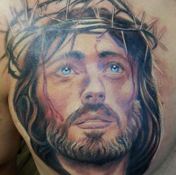 Тату Иисуса в цвете
