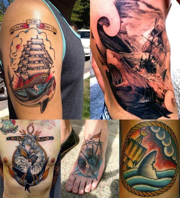 Татуировки акулы и корабля