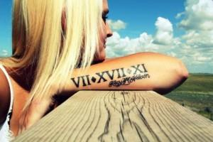 Roman numerals tattoo on the hand