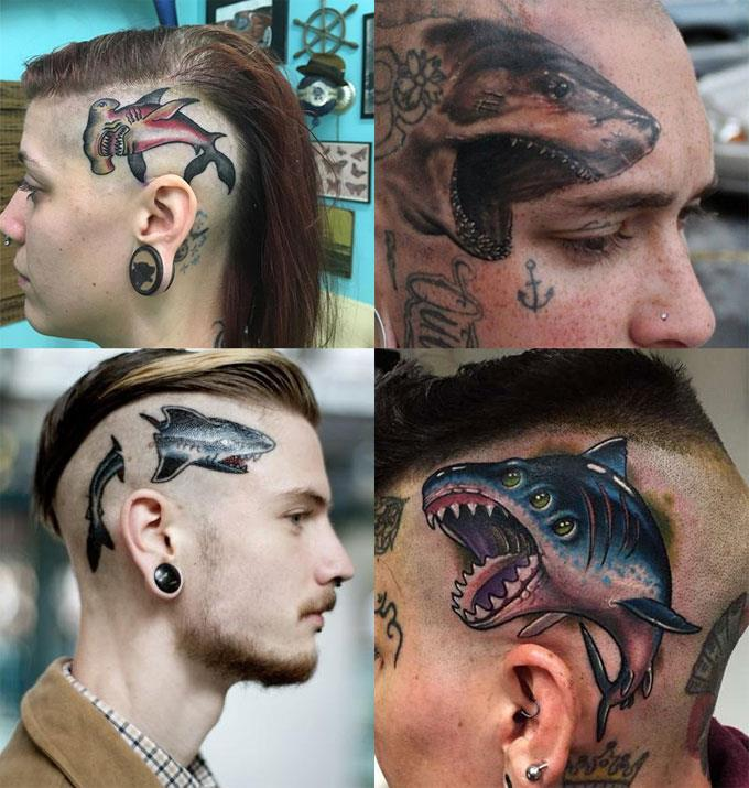 Татуировки акулы на голове