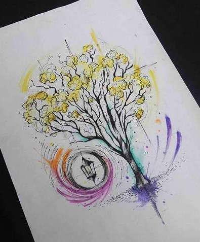 Эскиз дерева в красках