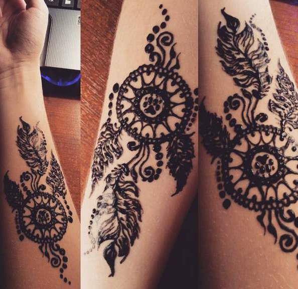 Временная татуировка ловец снов в стиле мехенди