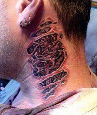Эскиз мужской татуировки биомеханика на шее