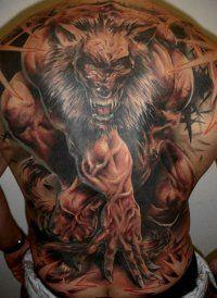 Эскиз тату Волк-оборотень для мужчин на всю спину