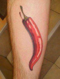 Эскиз 3D татуировки Перец на голени