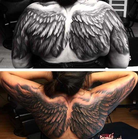 Большие крылья в пол спины