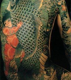 Кинтаро и карп. Татуировка работы Хорикина.