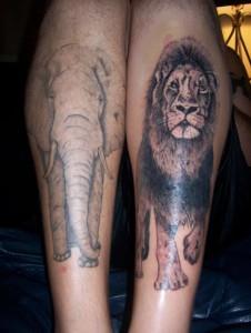 тату лев на ноге (1)