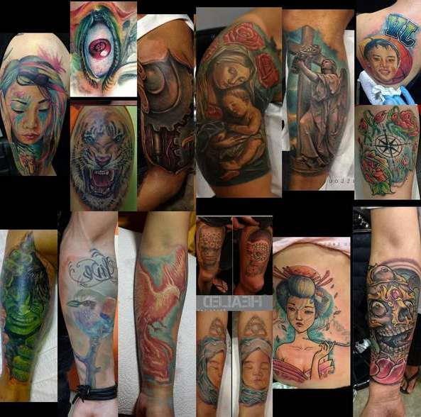 Примеры цветных татуировок