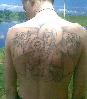 Зоновская татуировка Божьей Матери на спине