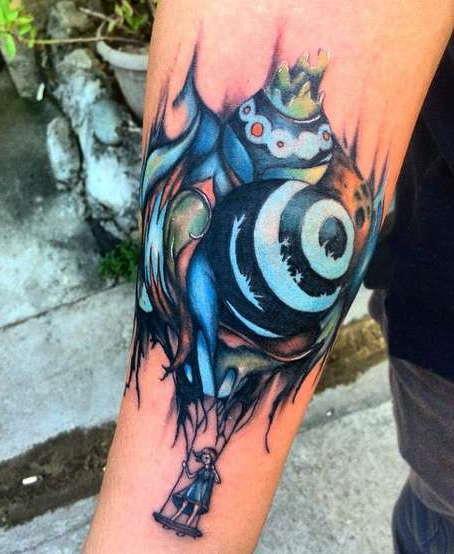 Цветная татуировки на руке