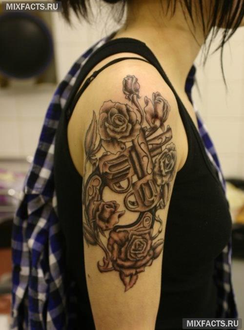 татуировка роза на руке для девушек