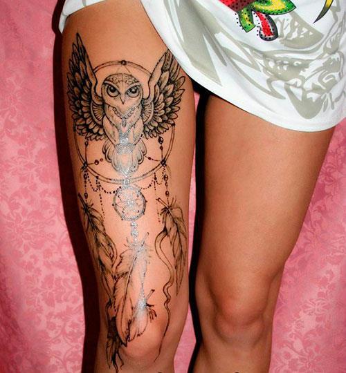 Мехенди необычная сова на ноге