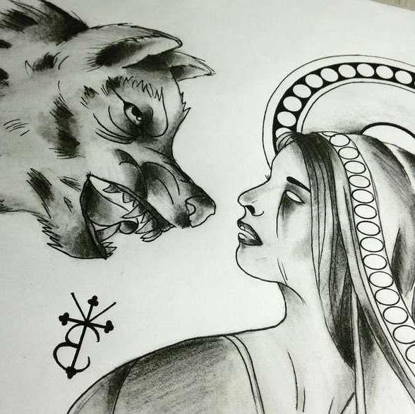 Эскиз татуировки волк, который рычит на девушку