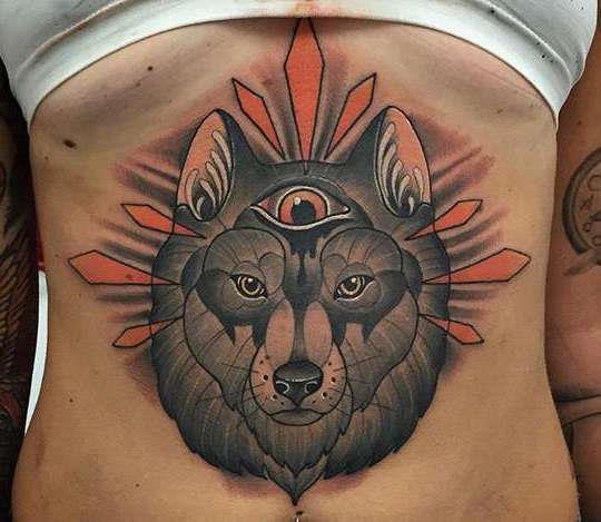 Татуировка волк на животе
