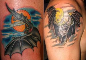Татуировки летучие мыши (значение, эскизы, фото)