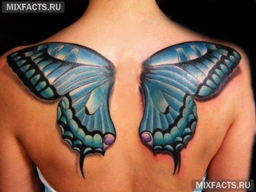 тату крыло синяя бабочка