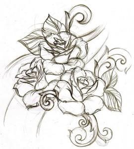тату розы эскиз (12)