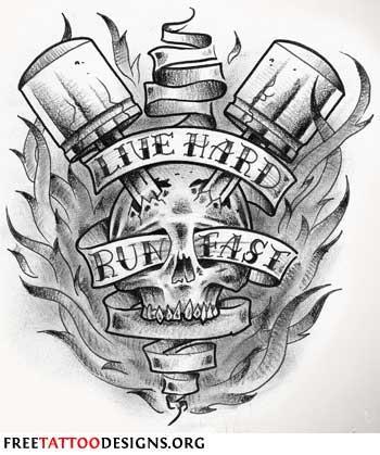 Эскиз байкерской татуировки