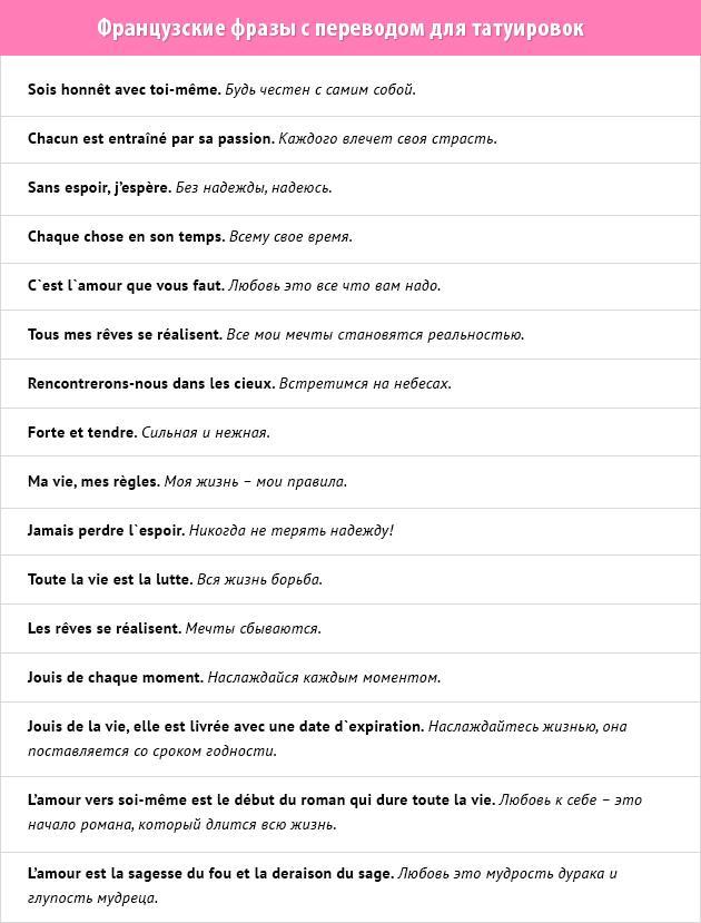 фразы для татуировок для женщин и мужчин на французском