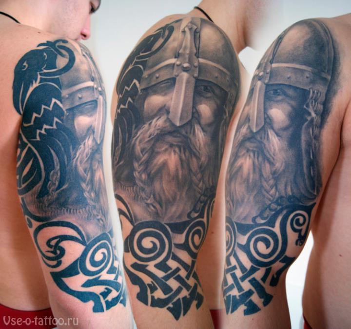 Татуировка-со-славянским-воином-на-руке
