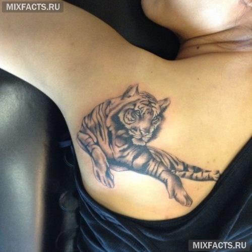 тигр тату для девушек