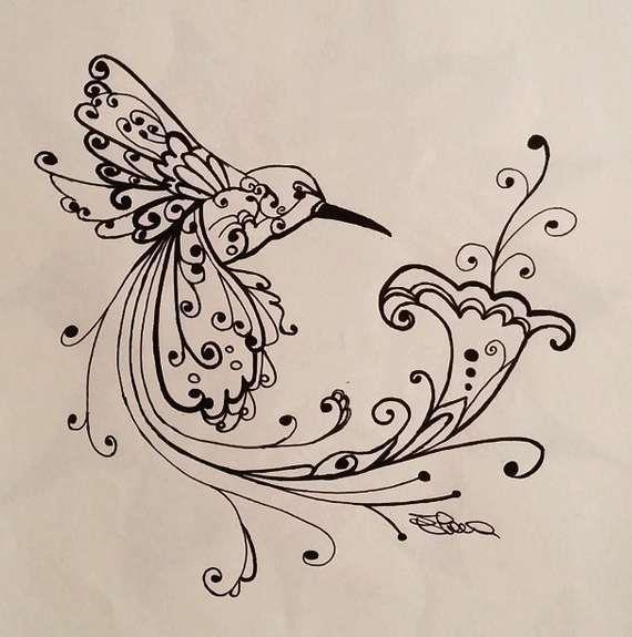Как нарисовать птичку колибри